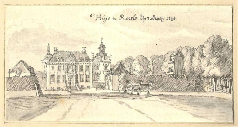 Huize Ruurlo in Ruurlo. Tekening Jan de Beijer, 1743